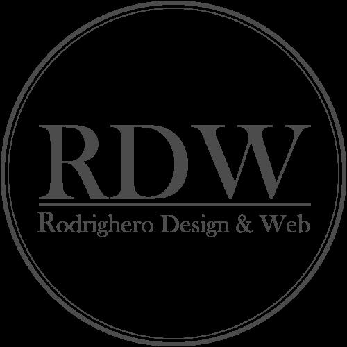 Logo RDW em cinza com círculos concêntricos e fundo transparente